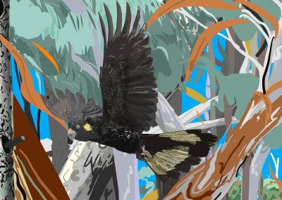 Contemparory forest and Yellow tailed cockatoo-detail