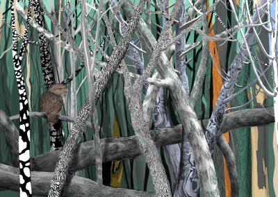 Tawny Frogmouth contemporary bush