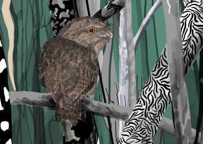 Tawny Frogmouth contemporary bush-detail